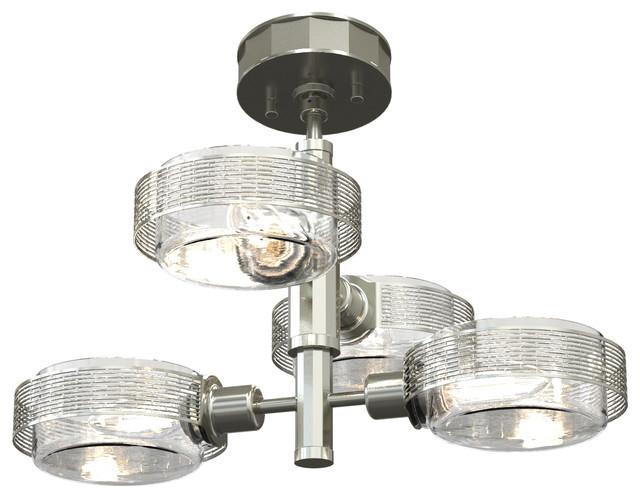 4-Light Semi Flush, Satin Nickel And Chrome.