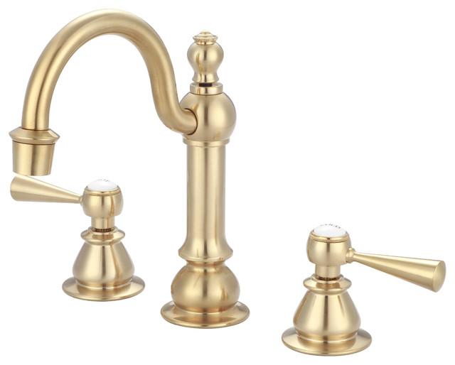 F2-0012-06-TL Satin Brass High Arc Torch Lever Handle True Brass Lavatory Faucet
