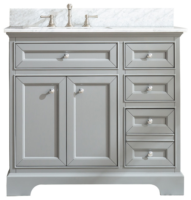 South Bay 37 Bathroom Vanity Gray Finish Transitional Bathroom Vanities And Sink Consoles By Ari Kitchen Bath Houzz