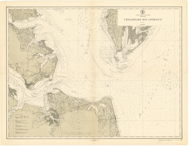 Chesapeake Bay Map, Entrance, 1911 - Contemporary - Prints And ... on