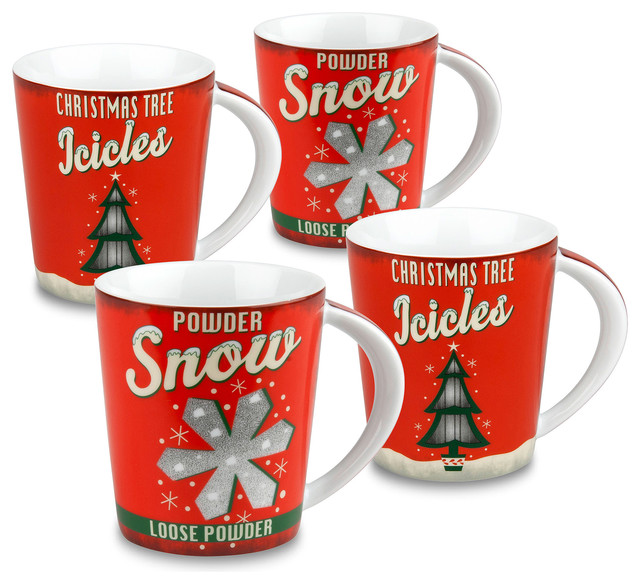 Vintage-Look Christmas Mugs, Set of 4 - Traditional - Holiday ...