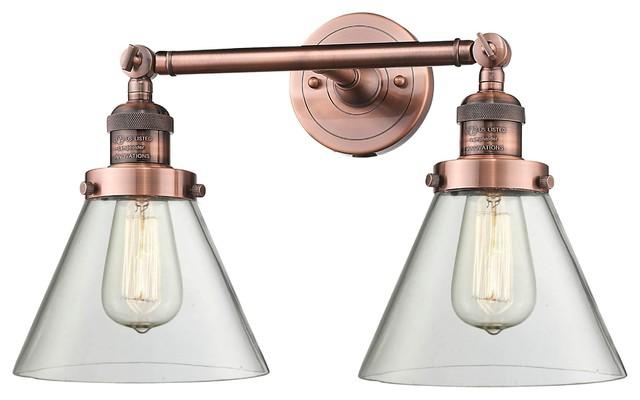 2 Light Bath Antique Copper With Led Vintage Bulbs