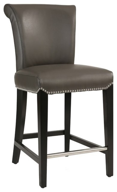 Abbyson Living Century Gray Leather Counter Stool
