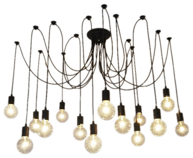 14 Light Pendant Swag Chandelier Black