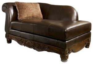 North shore leather chaise lounge indoor chaise lounge for Ashley north shore chaise