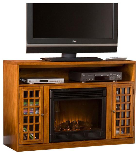 Sei Narita Media Electric Fireplace, Glazed Pine.