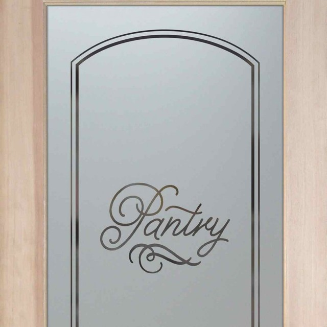 Pantry Door Melany Etched Glass Kitchen Door Traditional