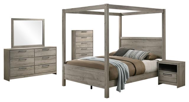 Bunbury 5 Piece Canopy Bedroom Set, Light Gray, King