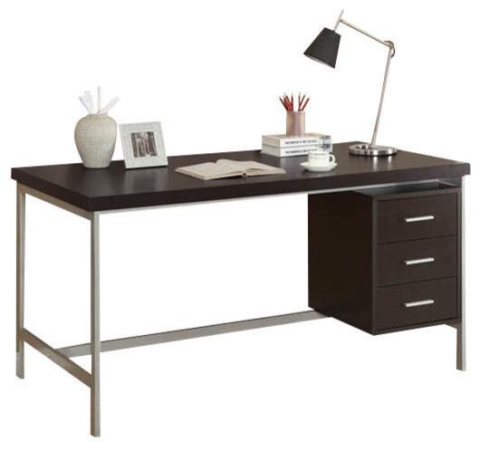 Computer Desk 60 L Cappuccino Silver Metal
