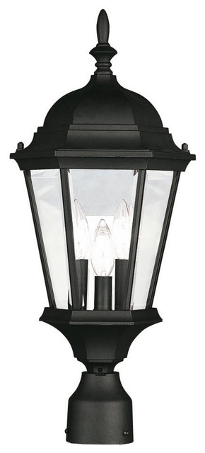 Hamilton Outdoor Post Head, Black And Clear Beveled Glass.