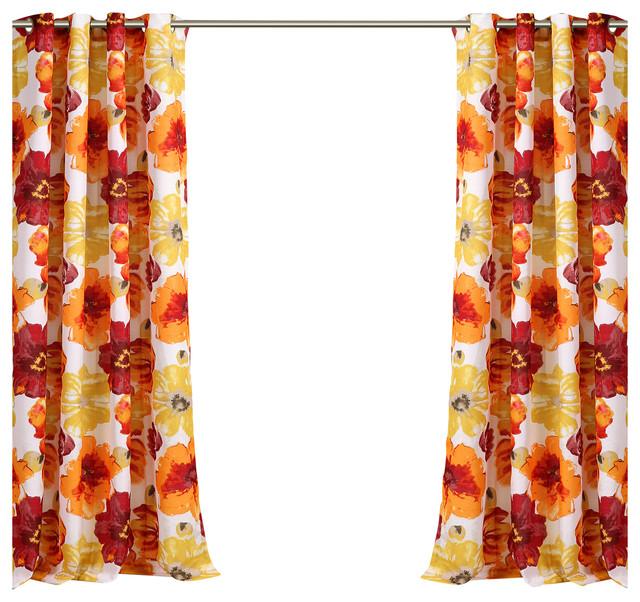 Leah Outdoor Window Curtain Set, Red/orange 52x84.