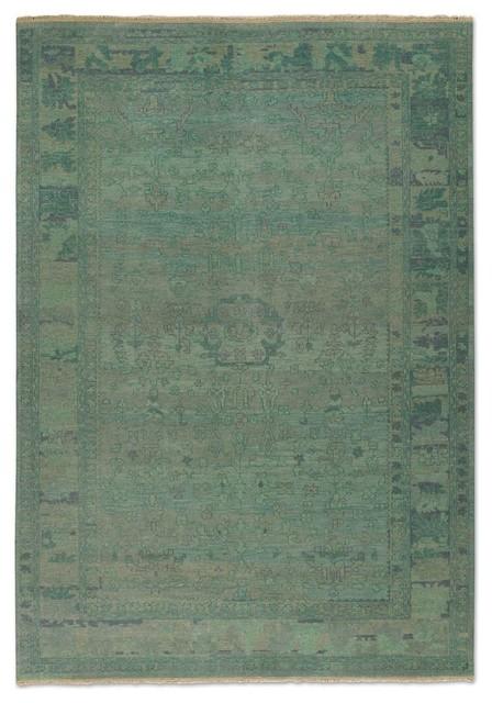Traditional Ismir 6u0027x9u0027 Rectangle Pale Blue Green Area Rug  Traditional Area
