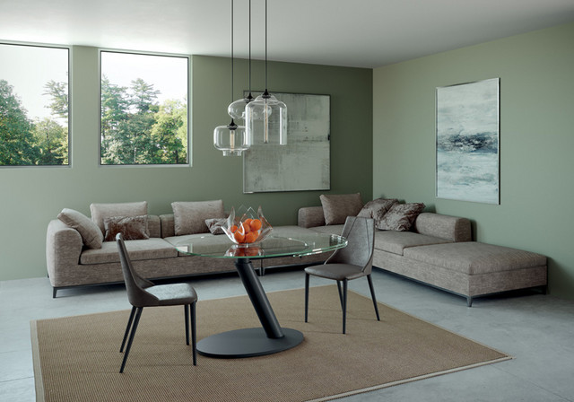 ONDA Oval Dining Extendable Table, Transparent Glass Top
