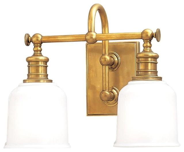Steel Vintage Style Aged Brass Bathroom Wall Light