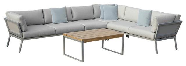 Conrad 5-Piece Outdoor Sectional Set, Gray