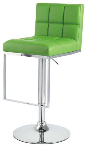 Alex Contemporary Adjustable Bar Stool, Lime Green Contemporary Bar Stools  And