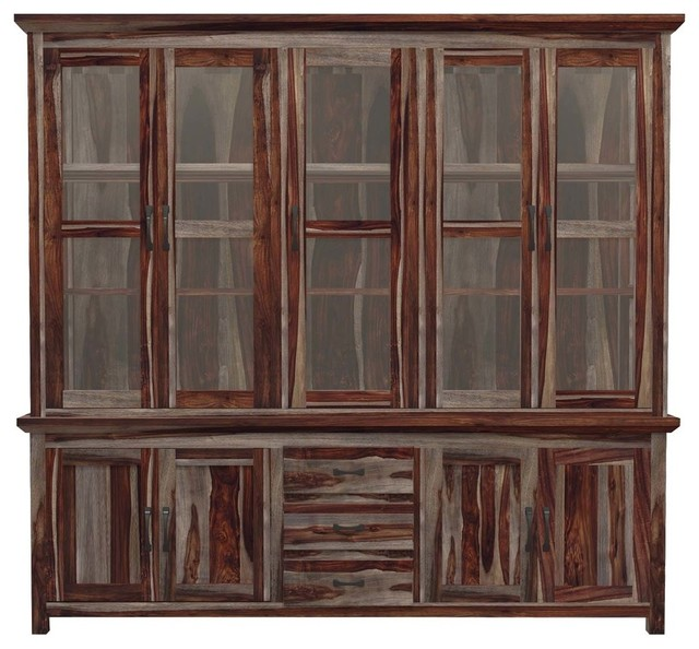 Fantastic Dallas Ranch Solid Wood Glass Door Dining Room China Hutch Cabinet Interior Design Ideas Apansoteloinfo
