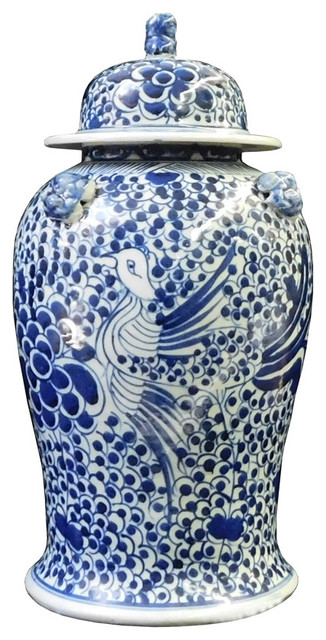 Chinese Blue and White Phoenix Bird Graphic Porcelain General Jar