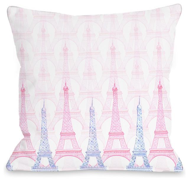 """Paris Eiffel Tower Pillow 16 X 16: """"Eiffel Tower"""" Indoor Throw Pillow By April Heather Art"""