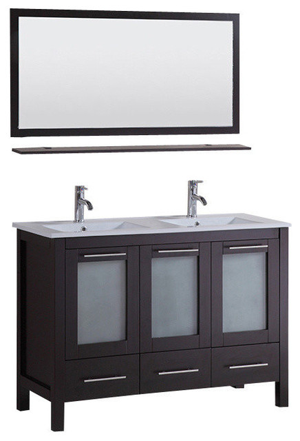 "Bathroom Vanity Combo Set 48"" double vanity ceramic sink combo set with mirror and faucets"