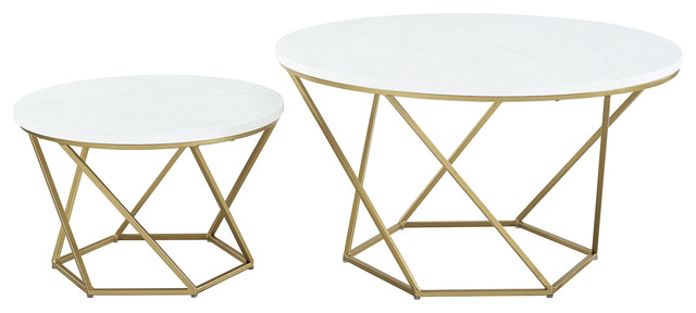 Bohemian Geometric Glass 2 Piece Nesting Coffee Table Set White Marble And Gold