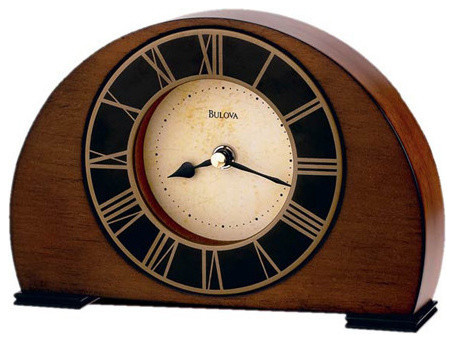 Tremont, Solid Wood Table Clock, Antique Walnut Finish traditional-desk-and- - Tremont, Solid Wood Table Clock, Antique Walnut Finish