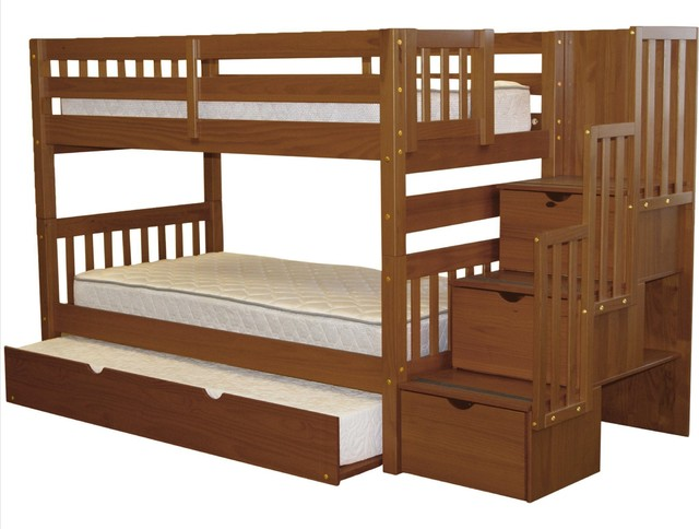 Bedz King Bunk Beds Twin Over Twin Stairway, 3 Drawers, Twin Trundle, Espresso.