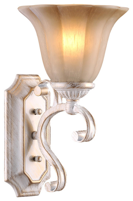 Vennio Retro-Style Iron Wall Sconce, White - Traditional - Wall Sconces - by LNC Lighting