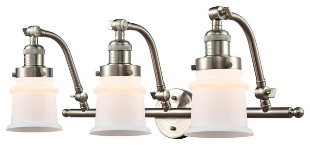 Small Canton 3-Light Bath Vanity-Light, Brushed Satin Nickel, Matte White