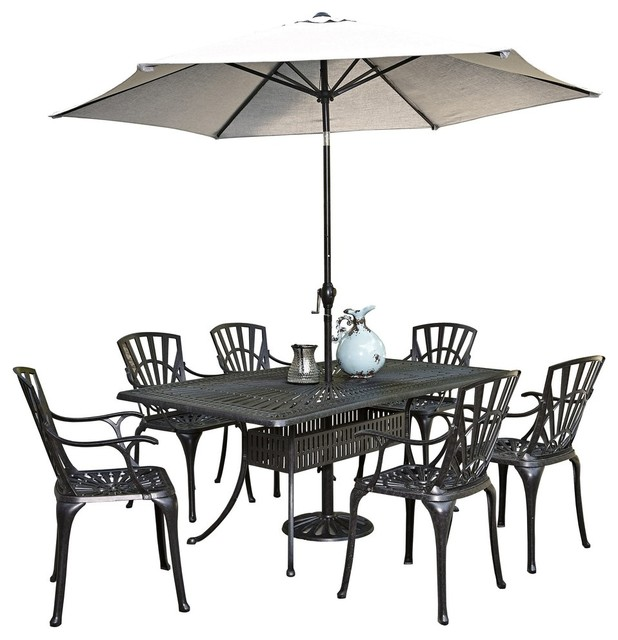 Largo 8-Piece Dining Set With Umbrella And Armchairs.