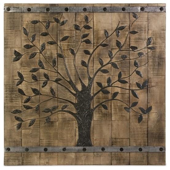 Rustic Tree Of Life Wood Wall Panel Rustic Mixed Media