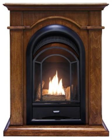 Procom Pcs150t Ventless Fireplace System, Walnut Mantel.