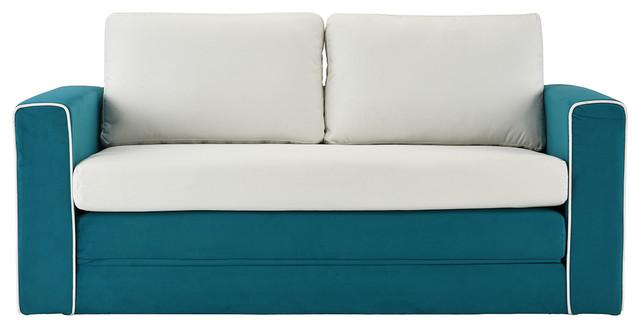 Convertible 2 Tone Modular Sleeper Sofa, Memory Foam Seat, Blue/Beige