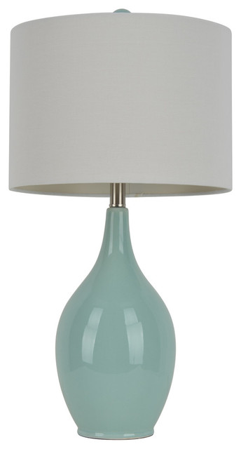 Ceramic Table Lamp, Spa Blue Transitional Table Lamps