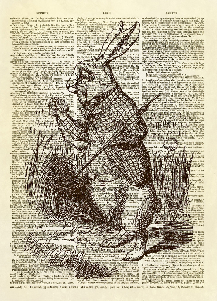 Vintage Hare Print Antique Dictionary Page Wall Art Picture Rabbit Bunny Spring