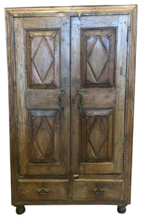 Consigned Antique Cabinet Chest Eclectic Furniture Armoire with drawers - Rustic - Accent Chests ...