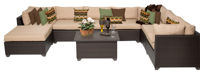 Premier Outdoor Wicker 9-Piece Patio Set, Beige.