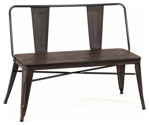 Industrial Antique Bench With Wood Seat Panel and Metal Backrest Easy to Clean