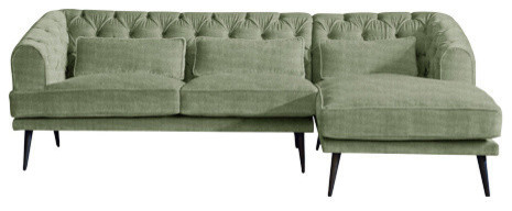Earl Grey Chaise Sofa, Sage, 3 Seater, Right Hand Facing