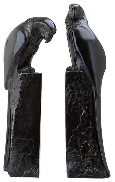 2-Piece Bronze Bookend, Eichholtz Perroquet