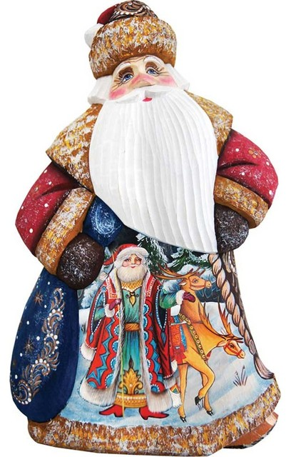 Courier Dancing Santa, Woodcarved Figurine.