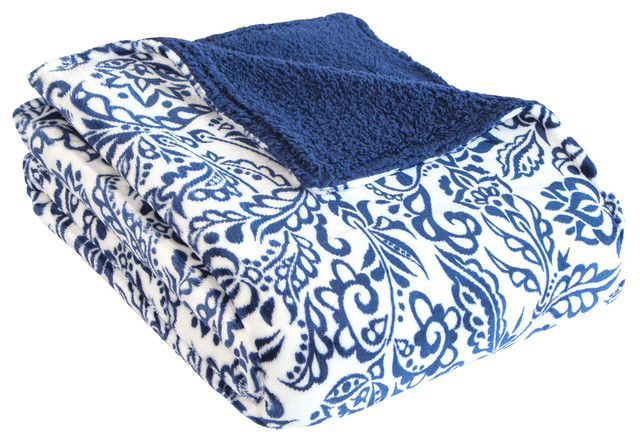 Damask Print With Colored Sherpa Back, Blue.