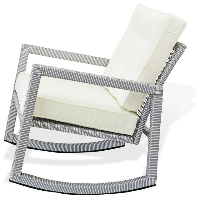Patio Resin Rocking Chair With Cushion, Gray