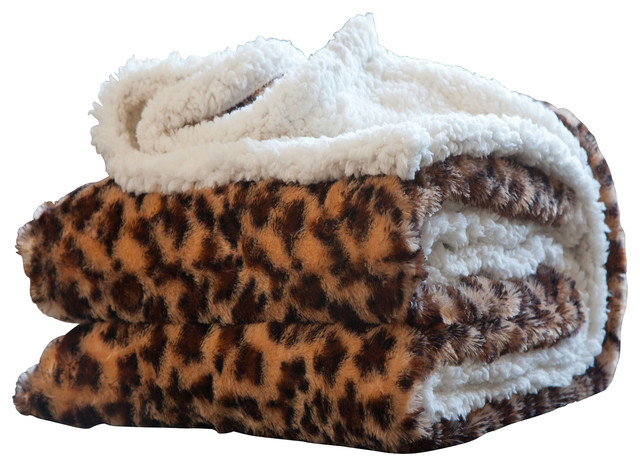 Animal Print Fleece Sherpa Blanket Throw By Lavish Home Traditional Throws By