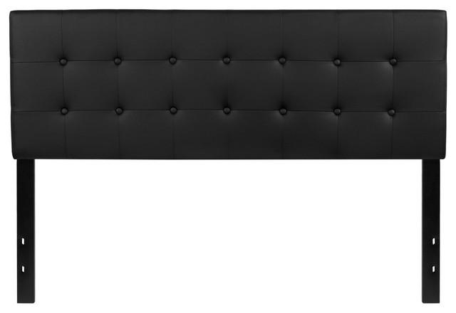 Lennox Tufted Upholstered Queen Size Headboard, Black Vinyl.