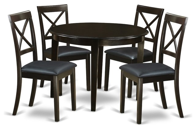 5 Piece Small Kitchen Table And Chairs Set Round Table And 4 Dining Chairs Transitional Dining Sets By Bisonoffice