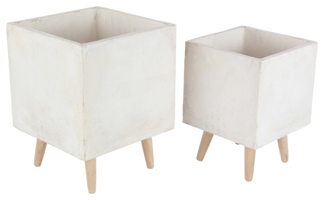 Modern Square Fiber Clay Planters With Wooden Legs 2