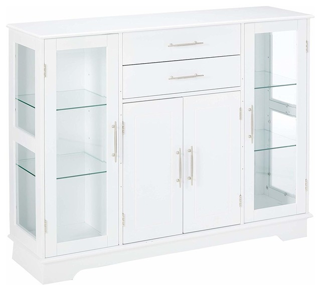 White Wood Kitchen Buffet Display Cabinet With Storage