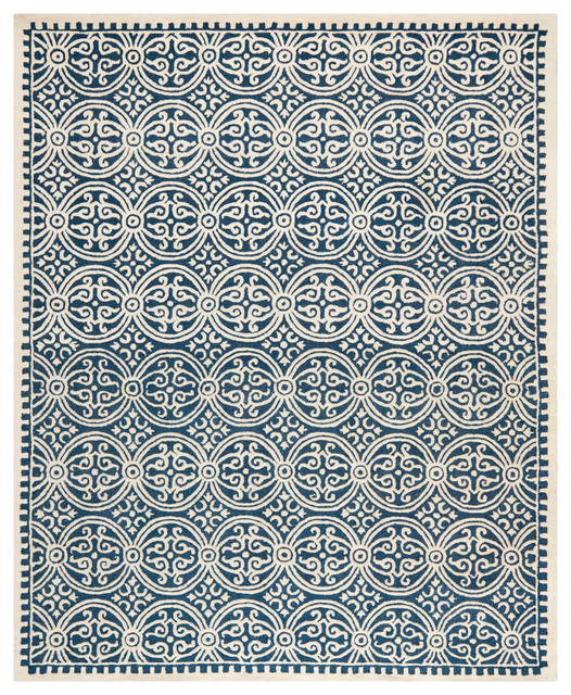 Marriott Hand-Tufted Rug, Navy And Ivory, 8&x27;x10&x27;.