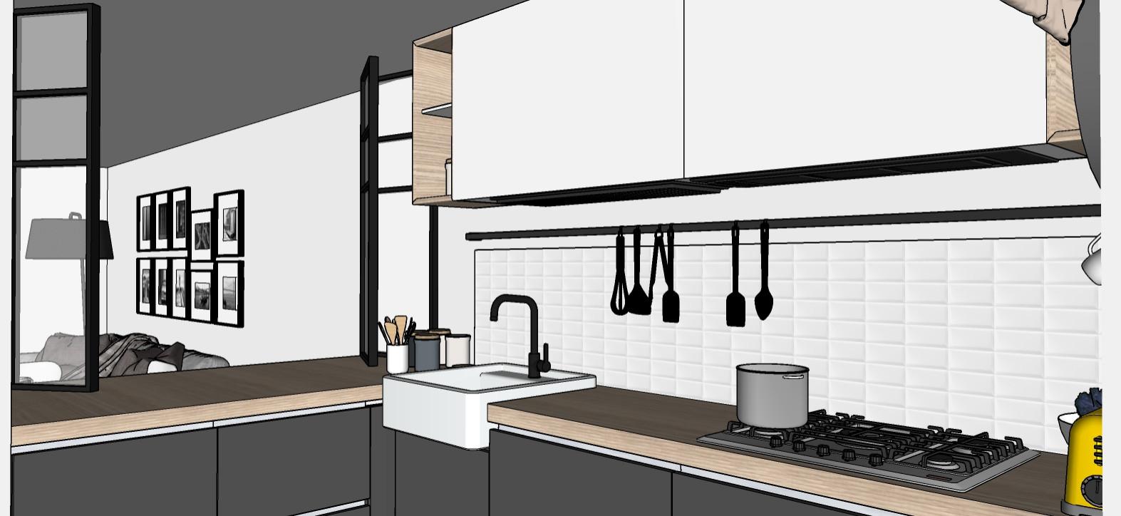 Vista della cucina (seconda ipotesi con pensili chiusi).